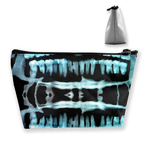 Women Halloween Spooky Skeleton Teeth Travel Cosmetic Bags Small Makeup Clutch Pouch Cosmetic And Toiletries Organizer Bag -