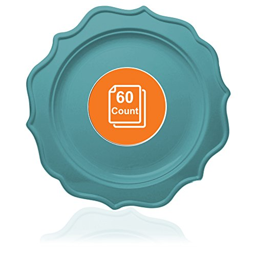 Tiger Chef 60-Count, 8-inch Sea Blue Color, Scalloped Rim Disposable Plastic Round Big Party Plate Set, includes 60 Dinner Plates, Plastic - BPA-Free, for Baby Showers, Wedding, Birthday