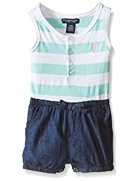 U.S. Polo Assn. girls Striped Jersey and Denim Short Romper