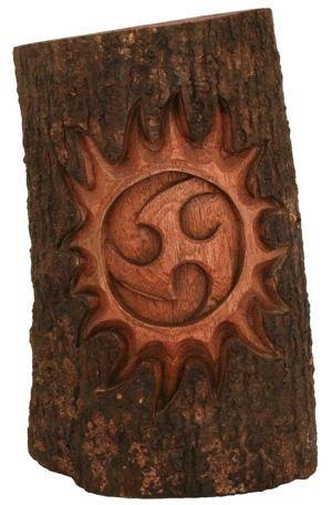 WINDALF Baumstamm TRIANA h  30 cm Triskele mit Sonne Handarbeit aus Holz