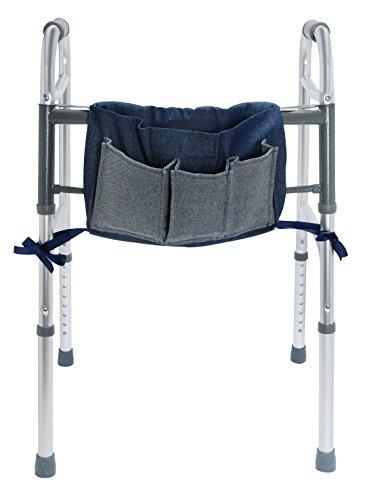 Duro-Med Walker Pouch, Multi-Pocket Carry-All Bag, Blue Denim