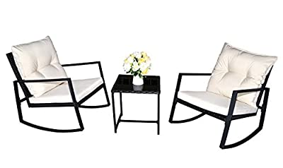 Moana Outdoor 3-piece Rocking Wicker Bistro Set, Two Chairs and One Glass Coffee Table, Black Wicker Furniture