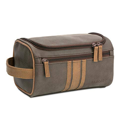 Vancase Toiletry Bag for Men Vintage Leather Dopp Kit Hanging Shaving Bag Portable Bathroom Shower Organizer for Travel Accessories (Brown)