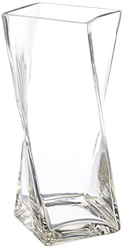 WGV Clear Square Twist Block Glass Vase, 10-Inch