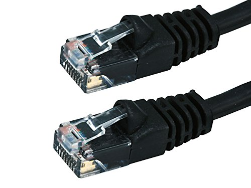 Buhbo 100ft Cat6 UTP Ethernet Network Booted Patch Cable, Black 100' Cat6 Booted Patch