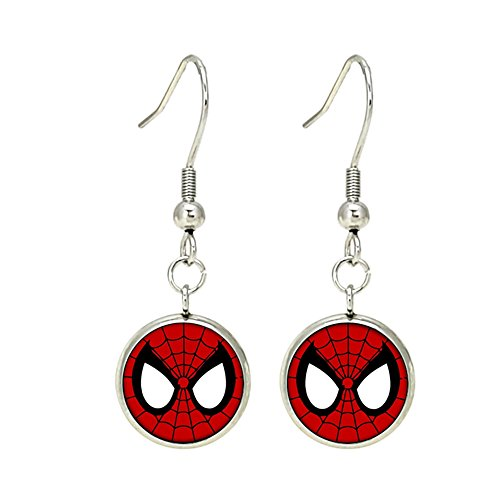 Spiderman Dangle Earrings Silvertone Premium Quality Marvel Comics 2018 Movies Cartoon]()