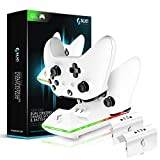 Sliq Xbox One/One X/One S Controller Charger Station and Battery Pack - Includes 2 Rechargeable Batteries - Also Compatible with Elite and PC Versions (White)