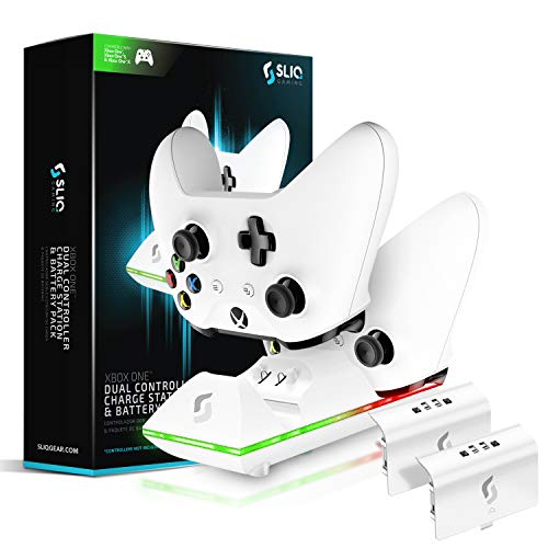 Sliq Xbox One/One X/One S Controller Charger Station and Battery Pack - Includes 2 Rechargeable Batteries - Also Compatible with Elite and PC Versions (White) from Sliq Gaming