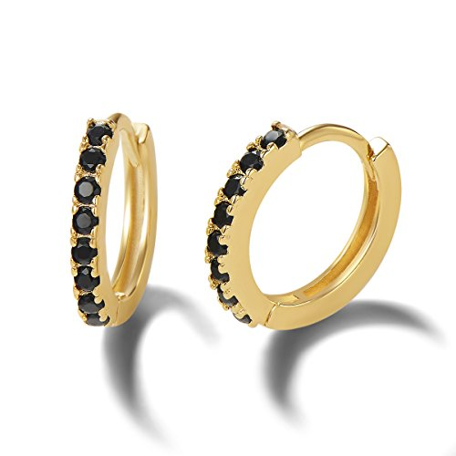 Carleen 14K Yellow Gold Plated 925 Sterling Silver Round Cut Black Cubic Zirconia CZ Dainty Hinged Hoop Earrings for Women Girls, 11mm
