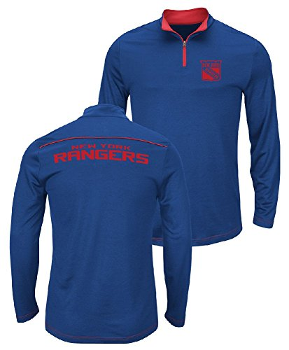 Majestic NHL New York Rangers Royal Quarter Zip Ready & Willing Thermabase Synthetic Jacket (XX-Large) (Majestic Trainer Jacket)