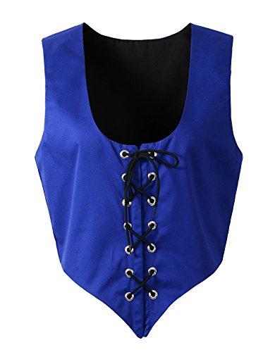 (Renaissance Medieval Halloween Reversible Costume Bodice Pirate Fair Wench Corset (XL, Blue/Black))