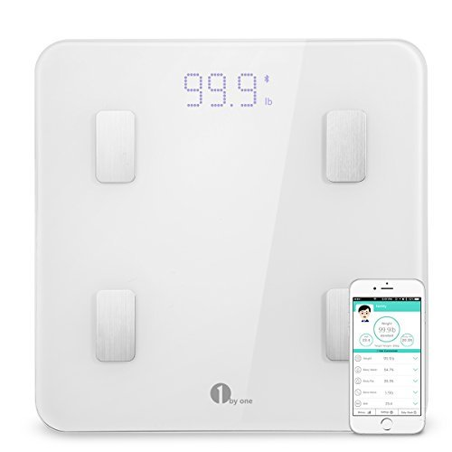 1byone Bluetooth Smart Body Fat Scale with iOS and Android App, Accurate Health Metrics, Body Composition & Weight Measurements, White by 1 BY ONE