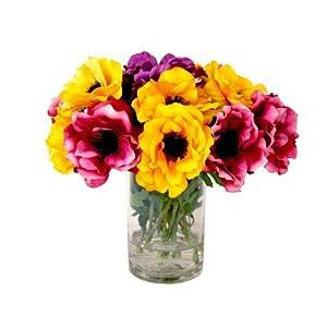 Assorted Anemone Bouquet in Water Vase 91