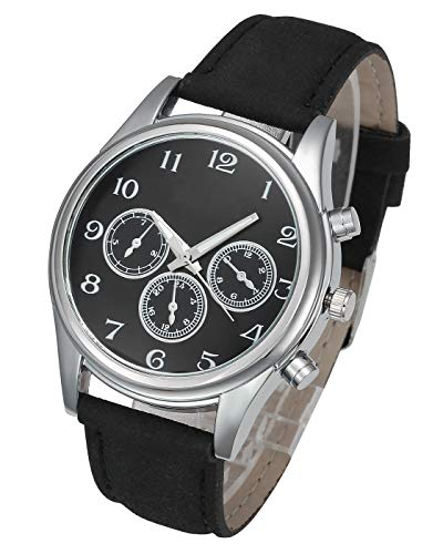 Top Plaza Mens Leather Wrist Watch Classic Casual Big Face Arabic Numerals Silver Case Analog Quartz Dress Watches with Decorated Second Dial - Black #2