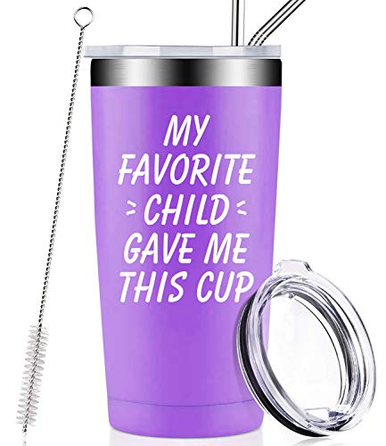 My Favorite Child Gave Me This Cup, Best Mom Birthday Gifts from Daughter, Son, Kids - Mother's Day, Father's Day, Christmas Funny Gifts Idea for Dad, Mama, Grandma, Women, Men, Wine Tumbler (Best Gifts For Mothers This Christmas)