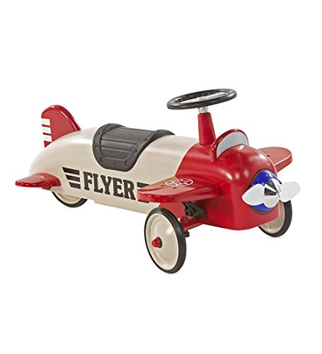 Kids Pedal Plane (Lil' Wings Metal Biplane Ride On Toy for Toddlers 22 x 19 x 11)