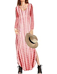 Womens Casual Maxi Long Sleeve Split Tie Dye Long Dress
