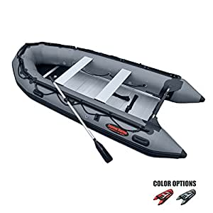 Seamax Ocean380 12.5 Feet Heavy Duty Inflatable Boat with Hot Welded Chamber Seam, Max 5 Passengers and 25HP Rated (Dark Grey)
