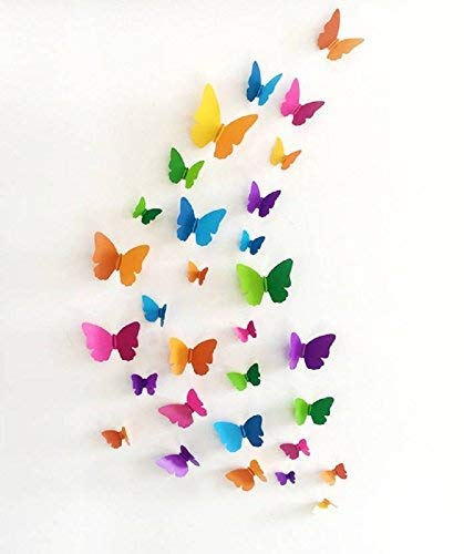 Jaamso Royals 'Multicolor 3D Butterflies' Wall Sticker (PVC Vinyl, 21 cm x 29.7 cm, 3D Stickers)
