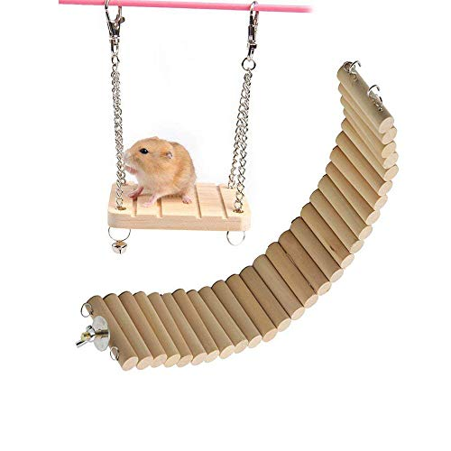 Hamster Bridge Hamsters Wood Swing Small Pet Ladder Stand Platform Hamster Cage Accessories Wood Bridge for Small Animal Hamster Wooden Toys Bridge Wooden Suspension Swing Flexible (Wood)