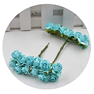 Dance to this 12Pcs/Lot Artificial Flower Mini Cute Paper Rose Handmade for Wedding Decoration DIY Wreath Gift Scrapbooking Craft Fake Flower,Sky Blue 25
