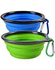 Woodlandu Collapsible Dog Travel Bowls,Silicone Portable pet Bowl for Hiking,Camping,Feeding Dish and Water,for Long Walks and Bike Rides for the Dogs.Expandable Cup for Pet Dog Cat Food Water,Free Carabiner Green and Blue