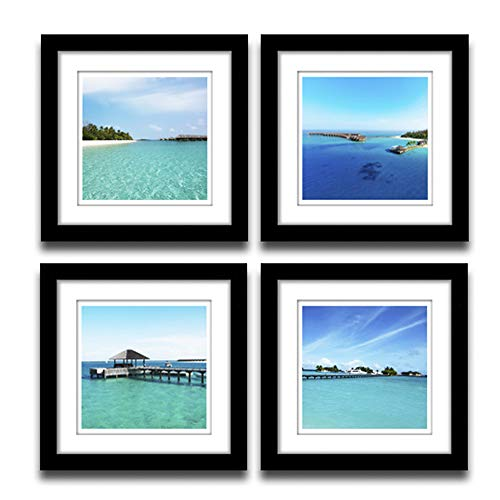 A Cup of Ta 4 Panels Set Framed Modern Decor Seascape Poster Print on Canvas Blue Painting Lack Frame with White Matte Artwork for Living Room Home Decor 12x12 Inch