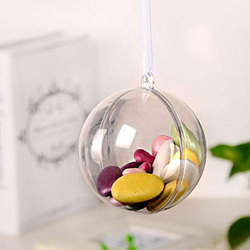 Christmas Ornaments Variety Set | DIY Crafts Wedding Decorations Bath Bomb Mold DIY Projects Clear Plastic Balls & Mirror Ball Textures Shatter Resistant Plastic | 60mm Round Ornaments (Mirror Transparent Plastic)