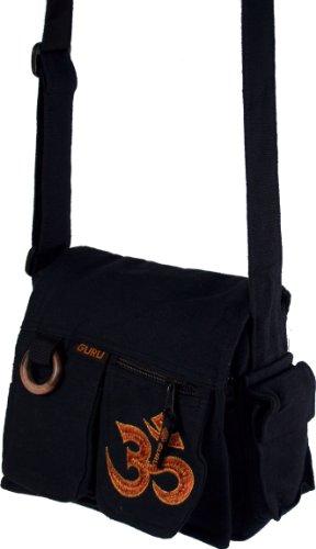 Guru-Shop Schultertasche 13 Schwarz Om, Herren/Damen, Baumwolle, Size:One Size, 25x25x7 cm, Alternative Umhängetasche, Handtasche aus Stoff