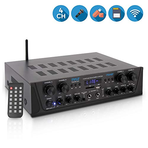500W Karaoke Wireless Bluetooth Amplifier - 4 Channel Stereo Audio Home Theater Speaker Sound Power Receiver w/ AUX IN, FM, RCA Subwoofer Speakers OUT, USB, Microphone IN w/ Echo - Pyle PTA44BT (3 Home System Speaker Theater)
