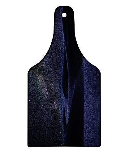 Lunarable Space Cutting Board, Desert Sand Dunes in Milky Way Stars at Dark Solar Celestial Reflection Over Earth Picture, Decorative Tempered Glass Cutting and Serving Board, Wine Bottle Shape, Blue by Lunarable