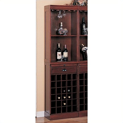 Coaster Lambert Traditional Wine Wall Bar Unit in Cherry (Each unit sold separately - 3 units - Home Furniture Bar