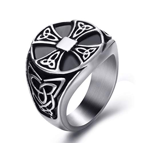 - Elfasio Celtic Rings for Men Solar Cross Symbol Stainless Steel Silver Black Vintage Jewelry Szie 9