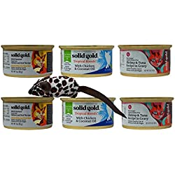 Solid Gold Holistic Grain/Gluten Free Cat Food 3 Flavor Variety 6 Can with Toy Bundle, 2 Each: Wild Harvest, Tropical Blendz, Five Oceans (3 Ounces)