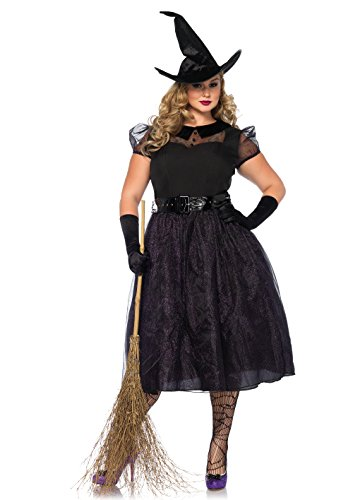 Leg Avenue Women's Plus Size Classic Darling Spellcaster Witch Costume, Black, 3X-4X]()