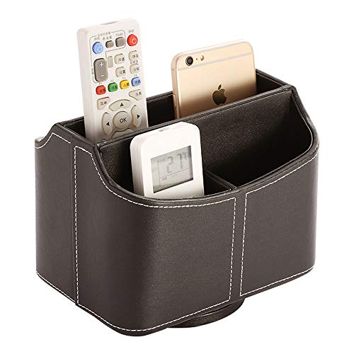 (Remote Control Holder, Rotatable PU Leather 360 Degrees Spinning Desk Storage Caddy Holder for TV Remotes Controllers Office Supplies Electronics)