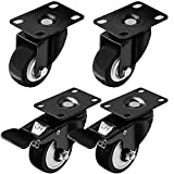 Swivel Caster Wheels Rubber Base with Top Plate