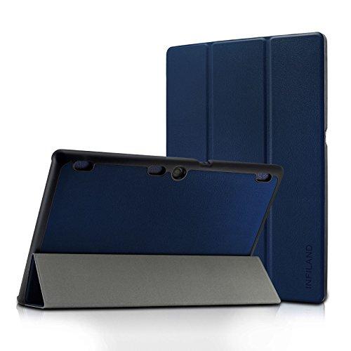 Infiland Lenovo Tab 2 A10/ Lenovo TAB-X103F Tab 10 Case, Ultra Slim Lightweight Tri-Fold Cover for Lenovo Tab 2 A10-70/ Tab 2 A10-30/ Tab 3 10 Business TB3-X70/ TAB-X103F Tab 10 10.1 Tablet, Navy