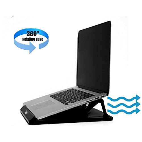 Portable and Adjustable Cooling Laptop Stand Or Notebook Riser For Desk, 360 Degree Rotating, Black (Cart That Folds Flat)