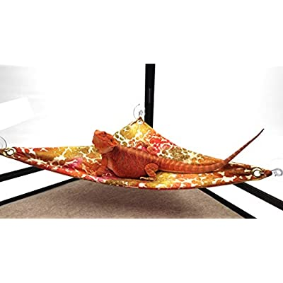 Hammock for Bearded Dragons, Tie Dye Golden Splash Fabric with Suction Cup Hooks : Garden & Outdoor