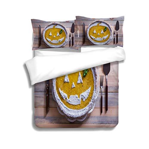MTSJTliangwan Family Bed Pumpkin Cake for Halloween 3 Piece Bedding Set with Pillow Shams, Queen/Full, Dark Orange White Teal Coral