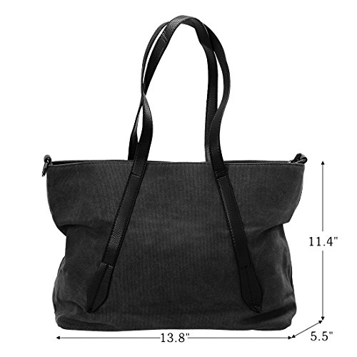 Trendy Canvas Tote Handbag Shoulder Bags for Women (Black) - 3