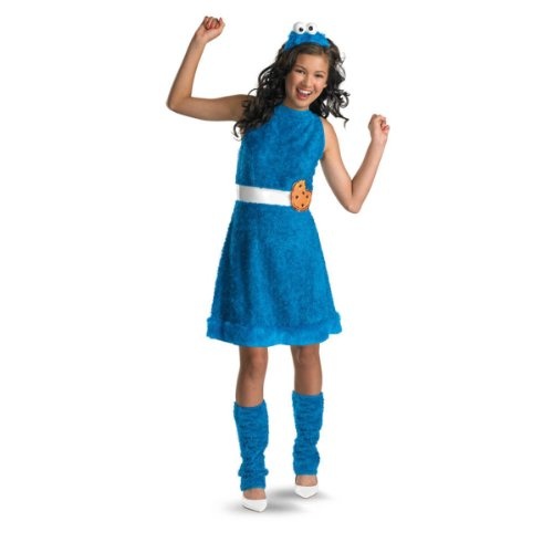 [Disguise Sesame Street Cookie Monster Teen Girls Costume, Large/10-12] (Halloween 10)