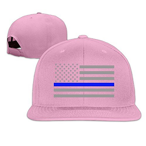 Custom Unisex-Adult Thin Blue Line American Flag Flat Brim Summer Cap Hats Pink (Bose Church Speakers)