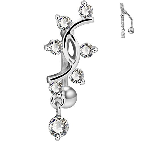 (COCHARM 14G Reverse Belly Button Rings Sexy Vine Dangle Navel Piercing Stainless Steel Belly Ring Jewelry(silver))