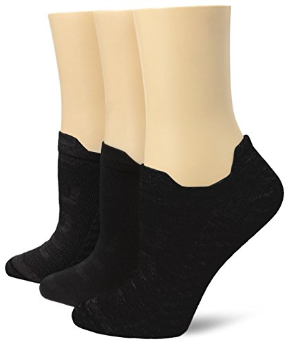 Air Womens Hue - Hue Women's Air Sleek Front and Back Tab 3 Pack Athletic Socks, Black, One Size