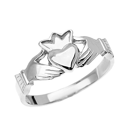 10k White Gold Dainty Ladies Claddagh Ring (Size 6.25)
