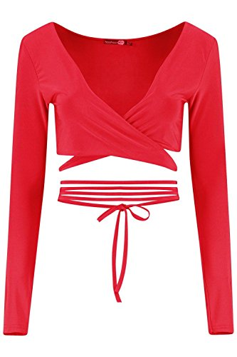 Boohoo Womens Orla Strappy Wrap Front Long Sleeve Bralet In Red Size 10