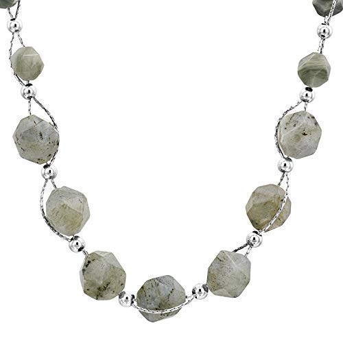 Entwined Natural Labradorite and Sterling Silver Beads Chain Necklace