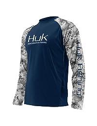Huk Subphantis Double Header Vented Long Sleeve Shirt, Navy/SubPhantis Subzero, Medium